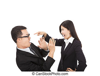 collègue, affaires femme, elle, fâché, jeune
