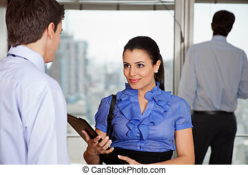 collègue, affaires femme, elle