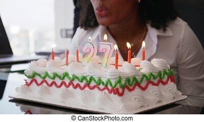 collègue, bureau, professionnels, célébrer, 3, fêtede l'anniversaire