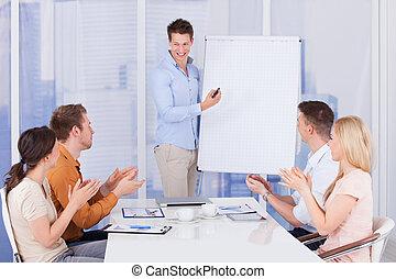 collègue,  Business, gens, applaudir, après,  présentation
