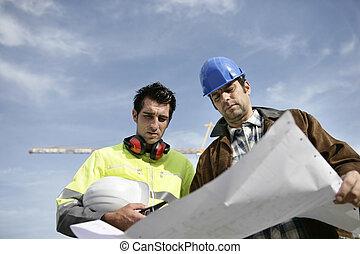 collègue, contremaître, site construction