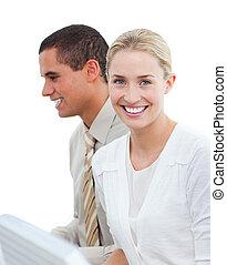 collègue, femme, elle, business, travail, blonds, portrait