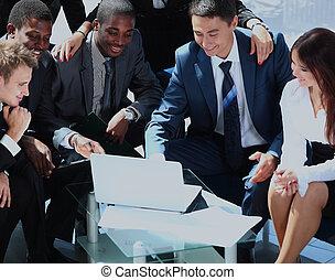 collègue, groupe, business, bureau., ensemble, réunion