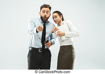 collègue, sien, business, bureau., ordinateur portable, spectacles, homme