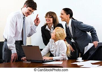 collègue, sien, donner, important, homme affaires, instructions