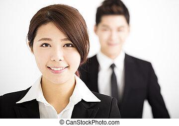 collègues, affaires femme, heureux