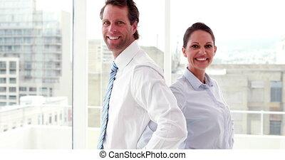 collègues affaires, sourire, came
