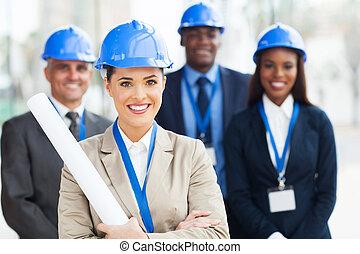 collègues, architecte, jeune, femme