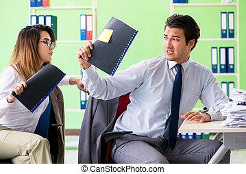 collègues, bureau, fonctionnement, deux