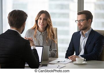 collègues, business, offre, exécution, écoute, associé, confection, réunion