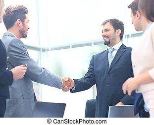 Collègues,  Business, séance, deux,  table, pendant, réunion