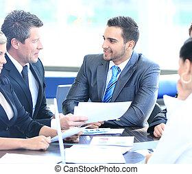 Collègues,  Business, séance, jeune, Sourire, réunion, homme