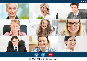 collègues, business, vidéo, remotely, appeler, ...
