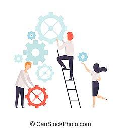collègues, compagnie, fonctionnement, professionnels, bureau, association, ensemble, équipe, collaboration, vecteur, mécanisme, illustration, coopération, construire