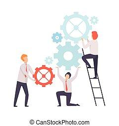 collègues, compagnie, fonctionnement, professionnels, bureau, association, ensemble, équipe, collaboration, vecteur, mécanisme, illustration, coopération, lancement
