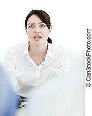 collègues, conversation, elle, femme affaires