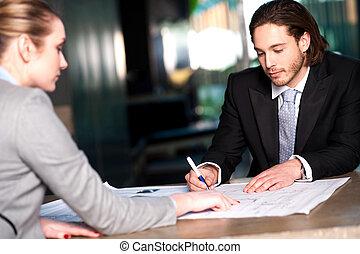 collègues, discuter, plan, business