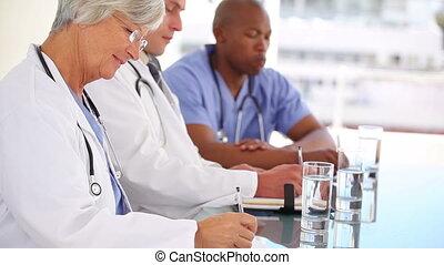 collègues, docteur mûr, séance