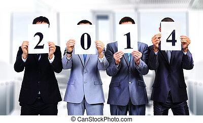 collègues, faces, leur, tenue, signes, devant, 2014