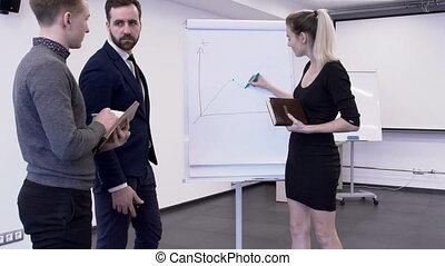 collègues, financier, elle, jeune, bitcoin, analytic, présentation, femme, salle réunion, changements, maret