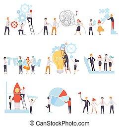 collègues, fonctionnement, bureau affaires, ensemble, association, ensemble, équipe, collaboration, vecteur, illustration, coopération