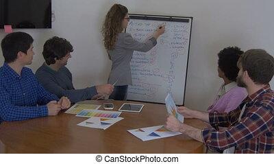 collègues, groupe, gens, projet, équipe, nouveau, discuter