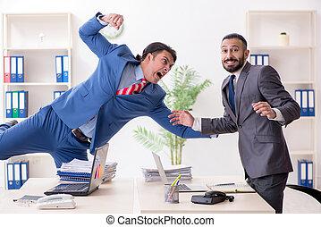 collègues, mâle, deux, bureau