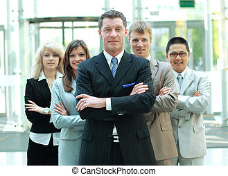 Collègues, mûrir,  Business, confiant, fond, homme