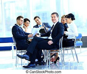 Collègues, mûrir,  Business, fond, pendant,  portrait, Sourire, réunion, homme
