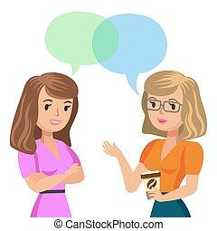 collègues, parler., illustration., jeune, deux, vecteur, friends., réunion, ou, femmes