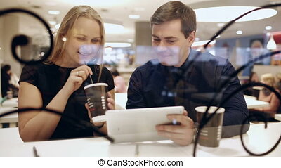 collègues, pause-café, conversation, quoique, tampon, pendant, utilisation, boire, café