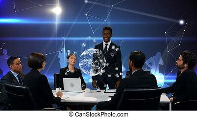collègues, présentation, bureau, discuter, homme affaires
