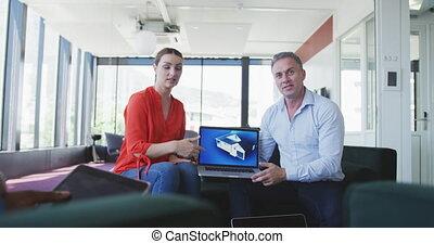 collègues, présentation, quelque chose, ordinateur portable