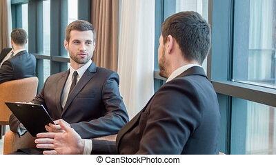 collègues, salle réunion, business