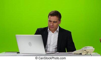 collègues, screen., vert, lieu travail, amical, masage