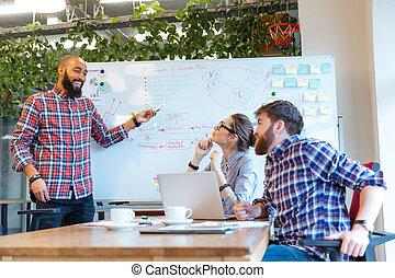 Collègues, sien,  Business,  plan, présentation, réunion, homme