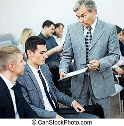 Collègues, sien,  Business, réunion, Travail,  -, directeur, discuter