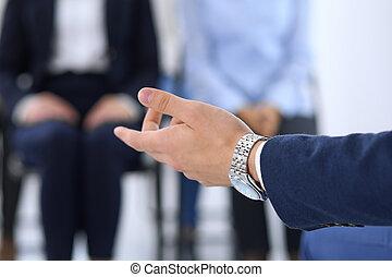 collègues, sien, groupe, business, gens., livrer, entraînement, concept, collaboration, training., orateur, homme, présentation, ou, séminaire, confection