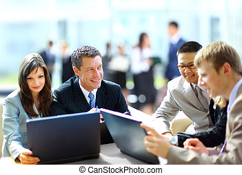 collègues, sien, réunion affaires, travail, -, directeur,...