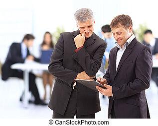 collègues, sien, réunion affaires, travail, -, directeur, discuter
