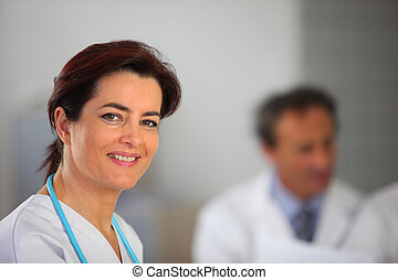 collègues, tenu, docteur féminin