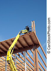 collé, bois construction, -, laminé, plate-forme