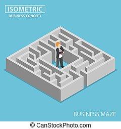 collé, isométrique, homme affaires, confondu, labyrinthe