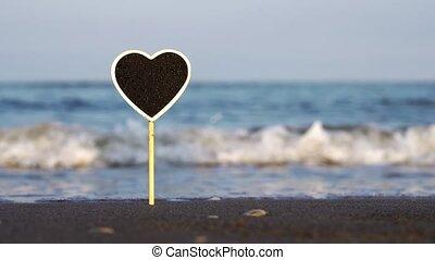 collé, plage, espace, plaque, océan, vide, sable, texte