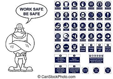 coll, costruzione, mandatory, signage
