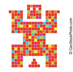 coll, vettore, carattere, pixel, illustrazione