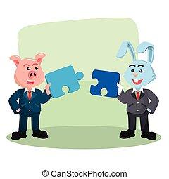 collaborate puzzle illustration design