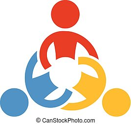 Collaborating teamwork people. Logo Vector