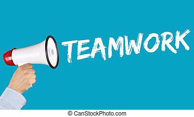 collaboration, équipe, travailler ensemble, concept affaires, reussite, porte voix