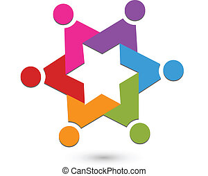 collaboration, étoile, logo